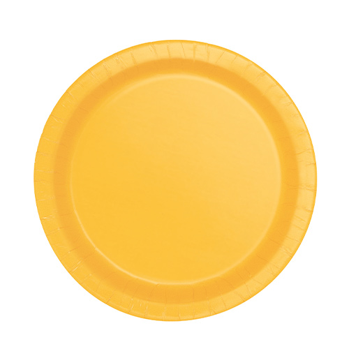 Yellow Round Paper Plates 17cm - Pack of 20