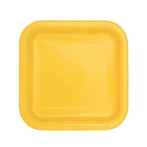Yellow Square Paper Plates 17cm - Pack of 16