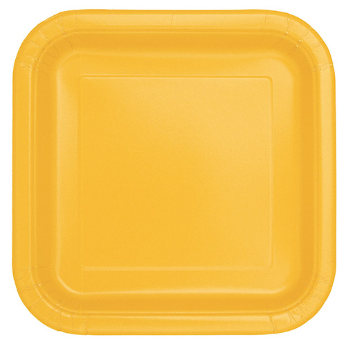 Yellow Square Paper Plates 22cm - Pack of 14