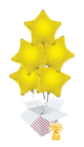 Yellow Star Foil Helium Balloon Bouquet - 5 Inflated Balloons In A Box Product Image