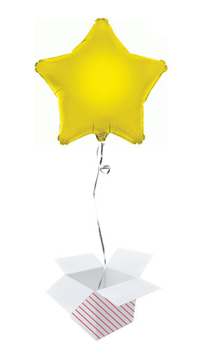 Yellow Star Foil Helium Balloon - Inflated Balloon in a Box