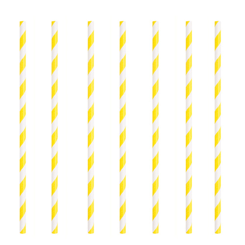 Yellow Striped Eco-Friendly Paper Straws - Pack of 10 Product Image