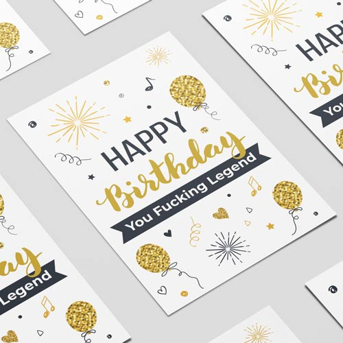 Happy Birthday You Fucking Legend Adult A3 Poster PVC Party Sign Decoration 42cm x 30cm Product Image
