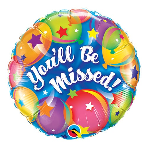 You'll Be Missed Round Qualatex Foil Helium Balloon 46cm / 18 Inch Product Image