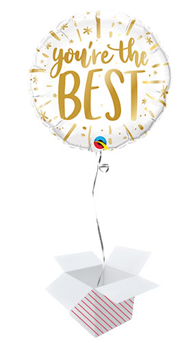 You're The Best Gold Round Qualatex Foil Helium Balloon - Inflated Balloon in a Box Product Image