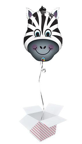 Zany Zebra Head Helium Foil Giant Qualatex Balloon - Inflated Balloon in a Box