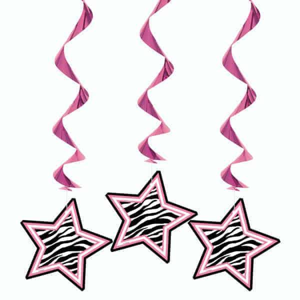 Zebra Stars Hanging Decorations - Pack of 3