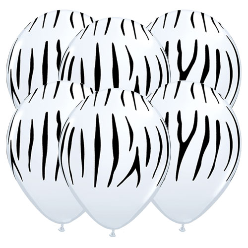 Zebra Stripes Assorted Round Latex Helium Qualatex Balloons 28cm / 11 in - Pack of 10