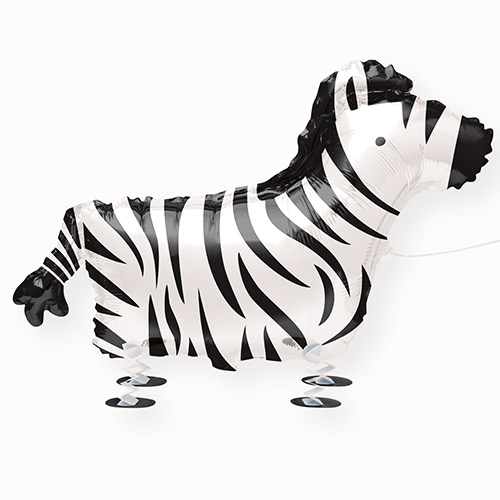 Zebra Walking Pet Foil Helium Balloon 76cm / 30 in Product Image