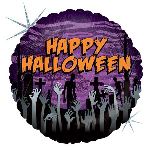 Cemetery Zombie Halloween Holographic Round Foil Helium Balloon 46cm / 18 in