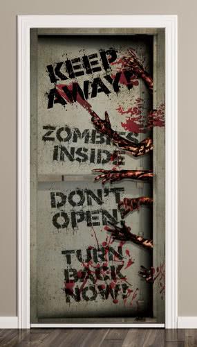 Zombies Inside Halloween Door Cover PVC Party Sign Decoration 66cm x 152cm