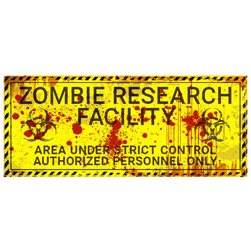 Zombie Research Facility Halloween PVC Party Sign Decoration 60cm x 25cm