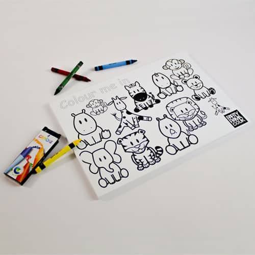 Zoo Animals Themed A4 Colouring sheet With 4 Crayons
