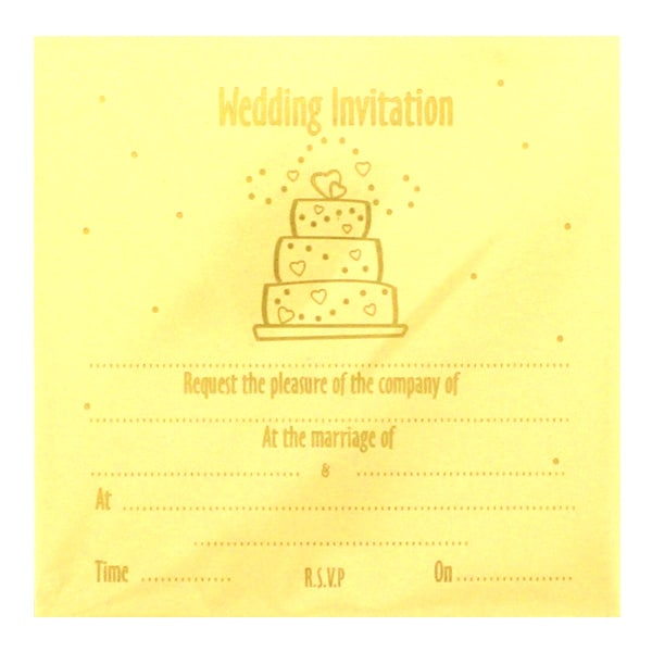 Wedding Cake Ivory Invitations with Envelopes - Pack of 10