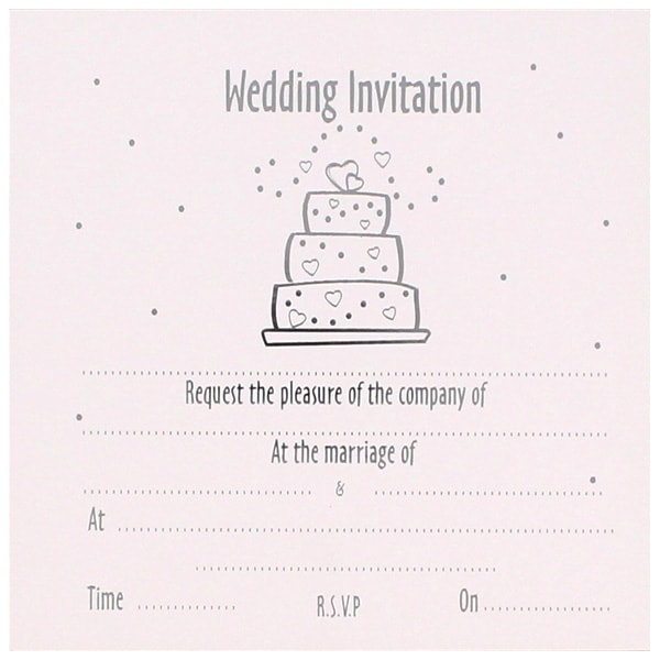 Wedding Cake White Invitations with Envelopes - Pack of 10