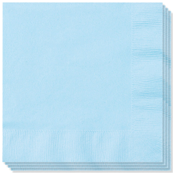 Baby Blue 2 Ply Napkins - 13 Inches / 33cm - Pack of 100