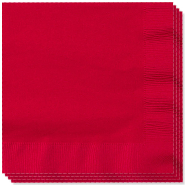 Red 2 Ply Napkins - 13 Inches / 33cm - Pack of 100