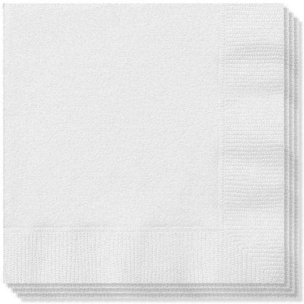 White 2 Ply Napkins - 16 Inches / 40cm - Pack of 100