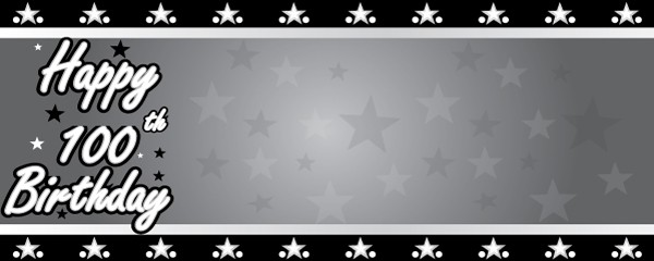 Happy 100th Birthday Faded Stars Design Medium Personalised Banner - 6ft x 2.25ft