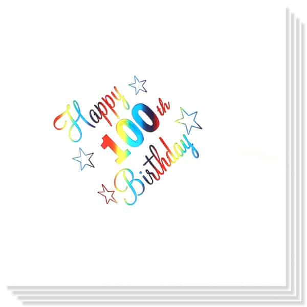 100th Birthday multi Coloured Foil Print 3 Ply Napkins - 13 Inches / 33cm - Pack of 15 Product Image