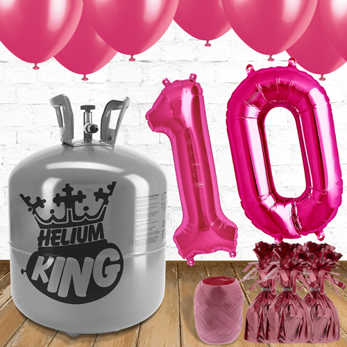 10th Birthday Helium Gas Package with Pink Balloons