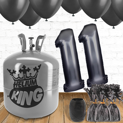 11th Birthday Helium Gas Package with Black Balloons Product Image