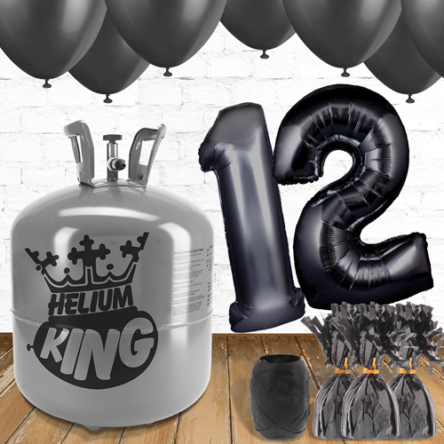 12th Birthday Helium Gas Package with Black Balloons Product Image