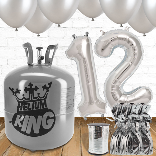 12th Birthday Helium Gas Package with Silver Balloons Product Image