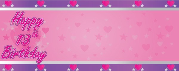 Happy 13th Birthday Faded Hearts Design Medium Personalised Banner - 6ft x 2.25ft