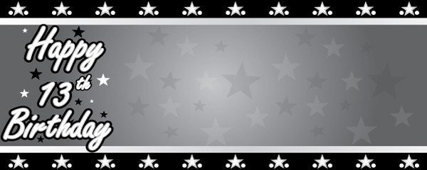Happy 13th Birthday Faded Stars Design Small Personalised Banner- 4ft x 2ft