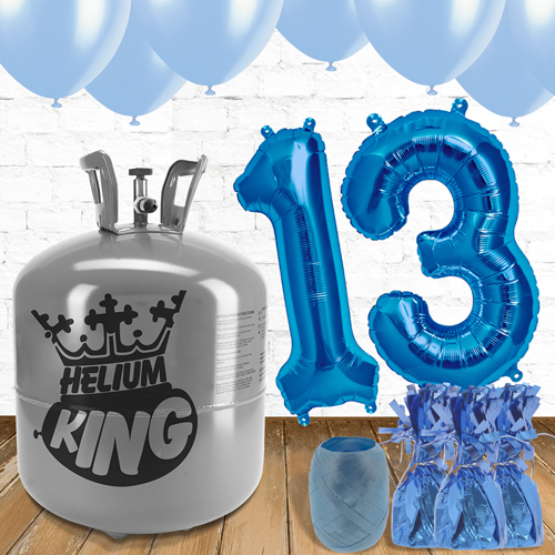 13th Birthday Blue Balloons And Helium Gas Package