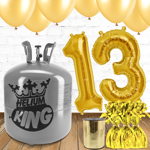 13th Birthday Gold Balloons And Helium Gas Package
