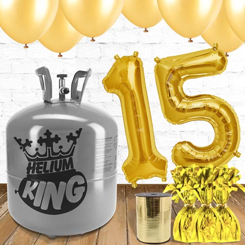 15th Birthday Helium Gas Package with Gold Balloons