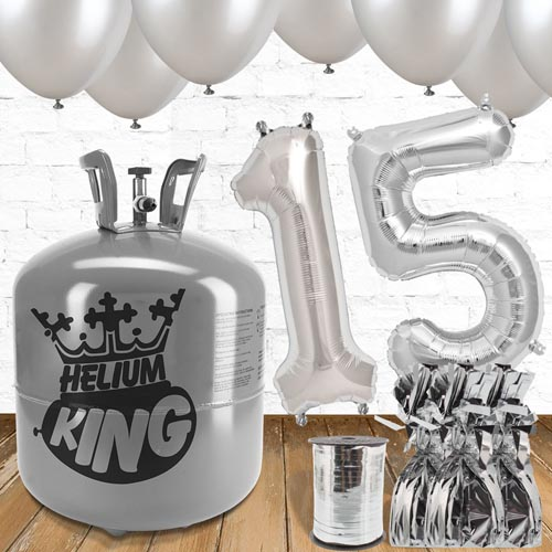 15th Birthday Silver Balloons And Helium Gas Package