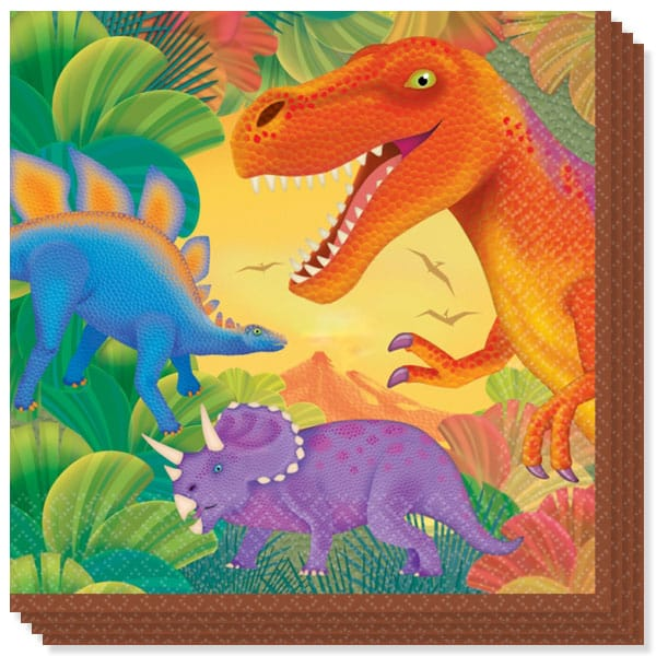 Prehistoric Party 2 Ply Luncheon Napkins - 13 Inches / 33cm - Pack of 16