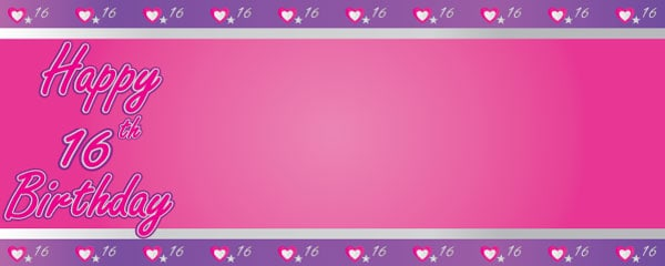 Happy 16th Birthday Pink and Purple Hearts Design Small Personalised Banner- 4ft x 2ft