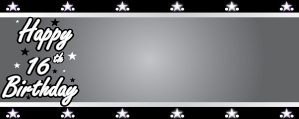 Happy 16th Birthday Silver Stars Design Small Personalised Banner- 4ft x 2ft