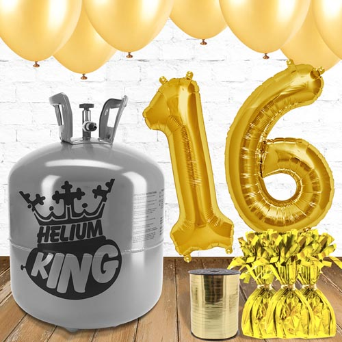 16th Birthday Helium Gas Package with Gold Balloons