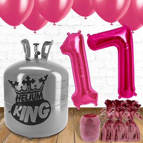 17th Birthday Helium Gas Package With Pink Balloons