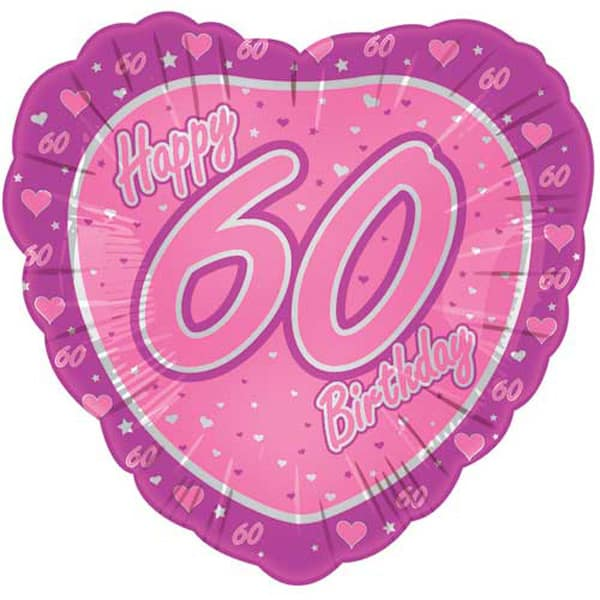 18 quot happy 60th pink heart shaped foil balloon partyrama co uk