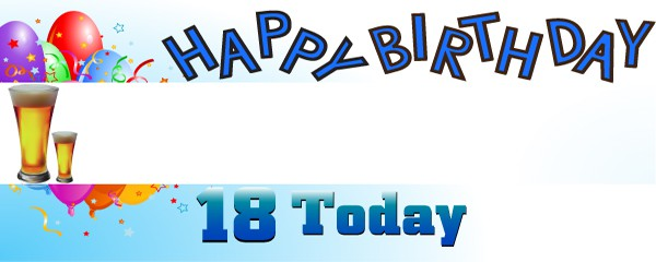 Happy 18th Birthday First Pint Design Small Personalised Banner- 4ft x 2ft