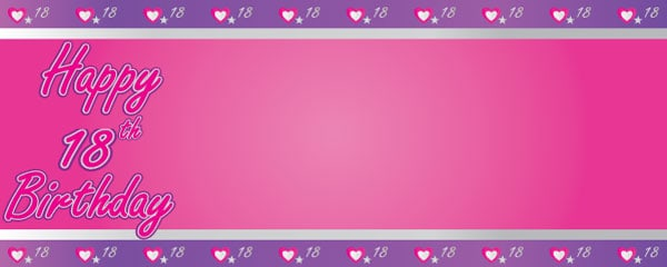 Happy 18th Birthday Pink and Purple Hearts Design Small Personalised Banner- 4ft x 2ft