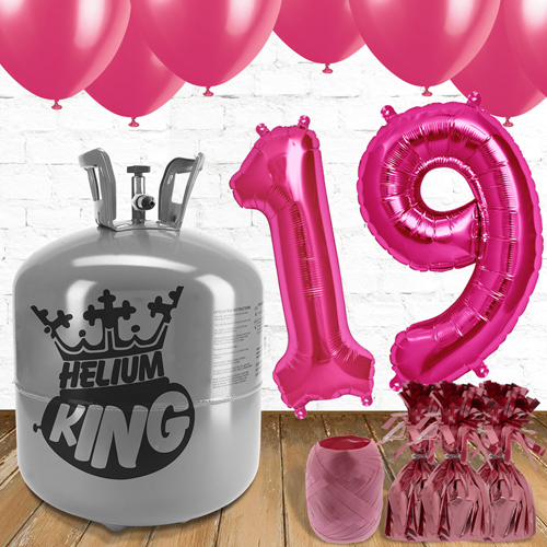 19th Birthday Pink Balloons And Helium Gas Package