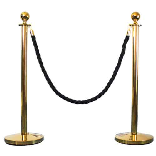 2 Prestige Brass Poles With 1 Black Braided Rope Gallery Image