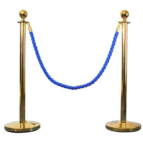 2 Prestige Brass Poles With 1 Blue Braided Rope Product Gallery Image