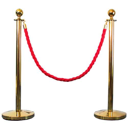 2 Prestige Brass Poles With 1 Red Braided Rope Product Gallery Image