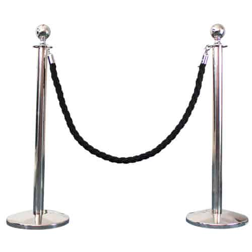 2 Prestige Chrome Poles With 1 Black Braided Rope Gallery Image