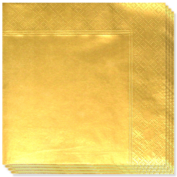 Metallic Gold 2 Ply Napkins - 33cm - Pack of 20 Bundle Product Image