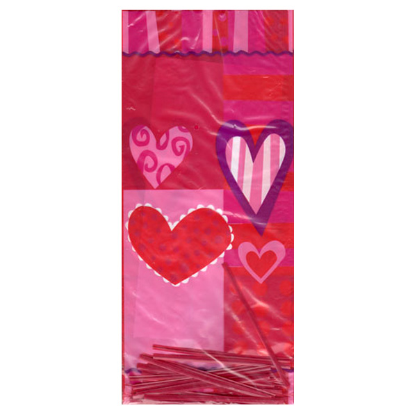 Hearts Plastic Cello Bags - Pack of 20