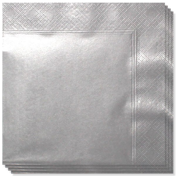 Metallic Silver 2 Ply Napkins - 33cm - Pack of 20 Bundle Product Image